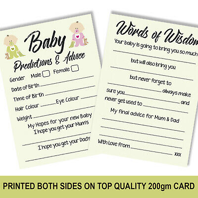 Baby Shower Party Games Prediction Advice Cards for Boy / Girl TOP QUALITY 1216a