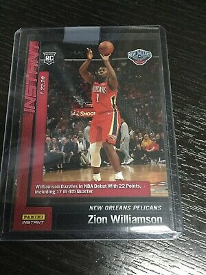 2019-20 Panini Instant Zion Williamson RC 1st NBA Game Debut Pelicans Rookie