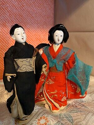 "2 Antq Ichimatsu 5.5"" Geisha/Hina Gofun Doll Exquisite Japan Attire*Embroidery"