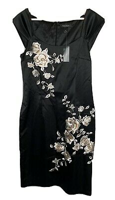 New White House Black Market Womens Satin Dress Size 10 Floral Embroidered BNWT