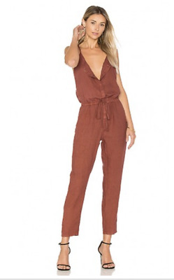 ENZA COSTA Sleeveless Casual French Linen Strappy Jumpsuit Sable M (2) $246