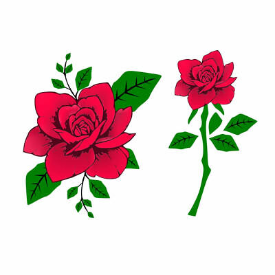 Set of 2 Rose Temporary Tattoo Waterproof  lasts 1 week Flower Red / Black Roses