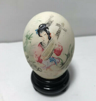 (Vintage) Hand Painted Egg in Japanese Geisha With Instrument & Wooden Stand.