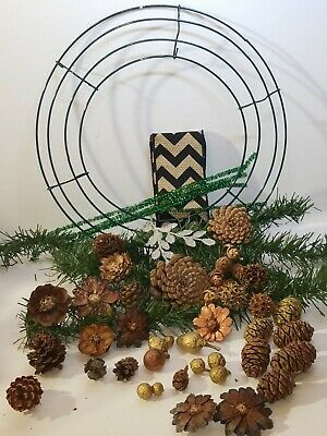 Real Cones Pinecone Flowers Wreath Craft Kit Elemental Exchanges Do it Yourself!