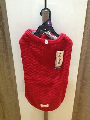 """WAG A TUDE DOG JUMPER RED LARGE 46-53cm (18""""- 21"""")"""