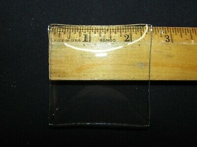 "Convex Clock Glass 2-1/2"" x 2-3/8"" curved square 3-1/2"" angle 5/64"" thick - NOS"