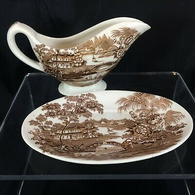 Tonquin Royal Staffordshire England Brown Clarice Cliff Gravy Boat Sauce Plate