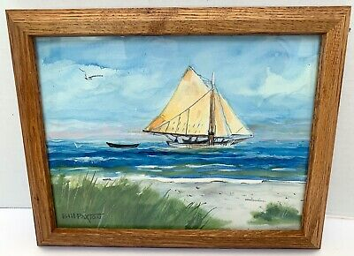 Signed Fishing Boat Off YORK MAINE 1920 BILL PAXTON Watercolor PAINTING-Sailboat