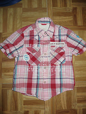 boys boy shirt top red checked age 4 years next short sleeved