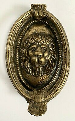 "Old Vintage Solid BRASS LION-HEAD DOOR KNOCKER With BACKPLATE-Oval-6""-England"