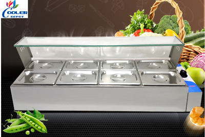 NEW 8 Pan Table Countertop Buffet Steam Warmer Server Catering Glass Guard- 110V