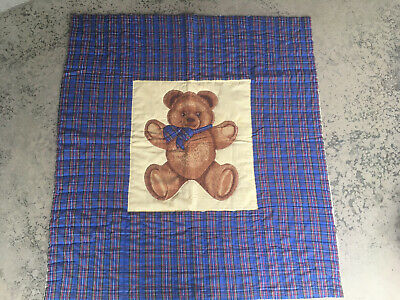 Vintage Baby Quilt Blanket Handmade Teddy Bear Plaid Hand Quilted blue yellow