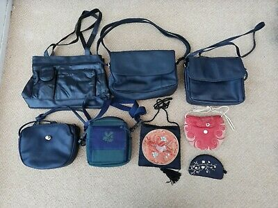 JOB LOT x 8 USED HANDBAGS BAGS PURSE INCLUDES ONE ALPHA GENUINE LEATHER HANDBAG
