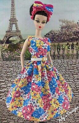 FITS Barbie Silkstone Reproduction & Vintage Doll HANDMADE Dress Spring Clothes