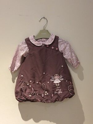 Baby Girl Puffball Effect Dress And Long Sleeved Top, Age 6 Months