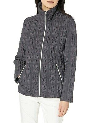 Anne Klein Womens Jacket Smoke Gray Size Large L Quilted Full-Zip $82 267