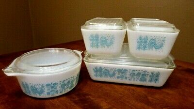 Vtg Pyrex Amish Butterprint Refrigerator Dishes & #472 -1-1/2 Pt .Dish-Near Mint