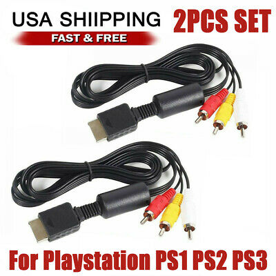 2PC 6FT RCA AV TV Audio Video Stereo Cable Cord For Sony Playstation PS1 PS2 PS3