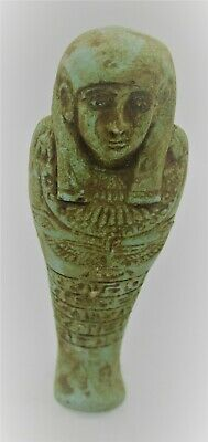 Circa 664 - 332 Bce Ancient Egyptian Glazed Faience Ushabti With Heiroglyphics