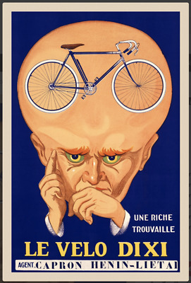 """24x36 1920s Classic Bicycle Poster /""""Les Cycles Wonder/"""" Flexible and Fast"""