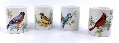 Set of 4 Porcelain Candlestick Holder W Germany, Bird & Floral Design