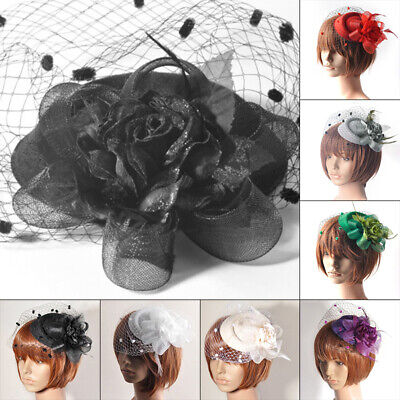 6color Lady Handmade Fascinator Feathers Flower Veil Hat Hair Clip Wedding Party
