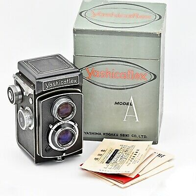 YashicaFlex Model A Twin Lens TLR 120 Film Camera With Original Box And Papers