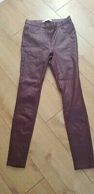 Next Maroon Leather Look Leggings - Size 12L