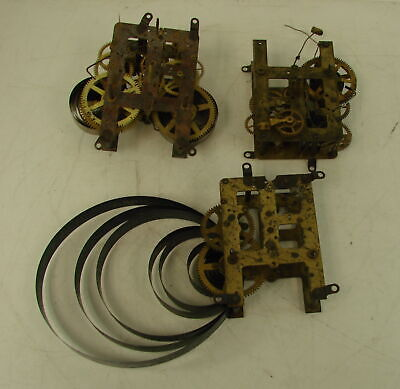 Vtg Antique Lot of 3 Waterbury Brass Mantle Clock Part Movements Parts &Repair