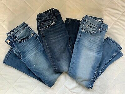3 Pairs H&M Boys Blue Superstretch Jeans Age 7 - 8 Years