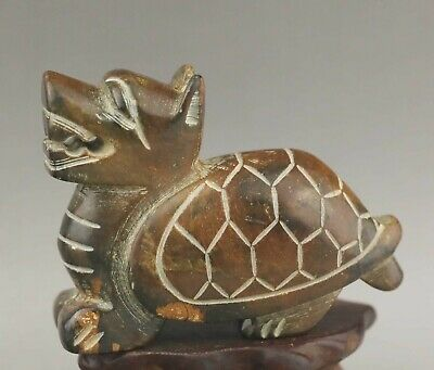 Chinese old natural jade hand-carved statue dragon tortoise pendant 2.7 inch