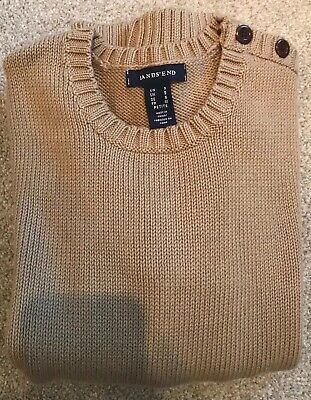 NEW! Lands End Warm Long Sleeve Boys Jumper Age 8 9 Years Camel Brown Small S