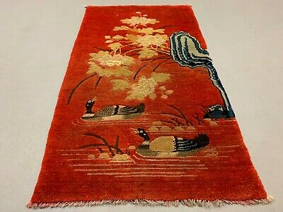 Antique Chinese Pao Tao Rug 125x70 cm, Wool, Red and Orange