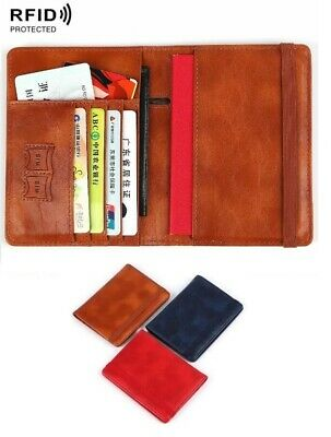 RFID Blocking Leather Passport & ID Holders Cover Card Case Wallet Elastic Band