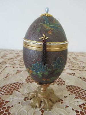 Egg Artistry Hand Carved Decorated Real Emu Egg Lidded Trinket Satin Lined