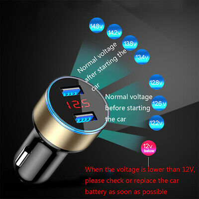 3.1A Dual USB Port Digital Car Cigarette Charger Lighter 12V/24V LED Voltmeter