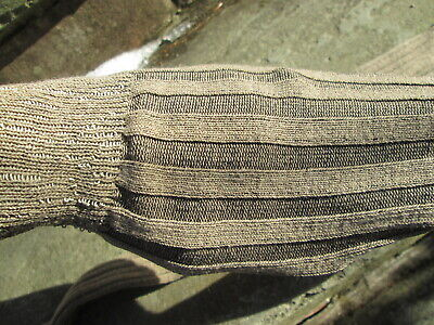 REENACTOR COLONIAL REV WAR 18th C VERTICAL RIBBED BROWN STOCKING COTTON NEW FOOT