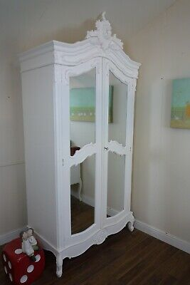 French Rococo Double Armoire Wardrobe In White - Shabby Chic Style Wardrobe