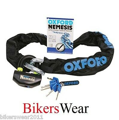 OXFORD Nemesis 1.5mtr Strong Motorcycle Security Chain & Padlock OF331