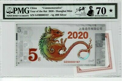 China Year Of The Rat 2020 Commemorative W Designer Authentic Hand Signed Pmg 70