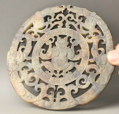 Chinese old natural hetian jade hand-carved statue dragon pendant 5.1 inch