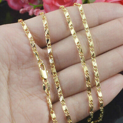 Hip Hop 18k Gold Filled Curb Cuban Mens Womens Figaro Chain Necklace 16-30 inch