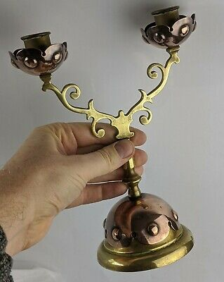 W.A.S Benson Attributed Copper & Brass Candlestick Antique Candelabra Arts Craft