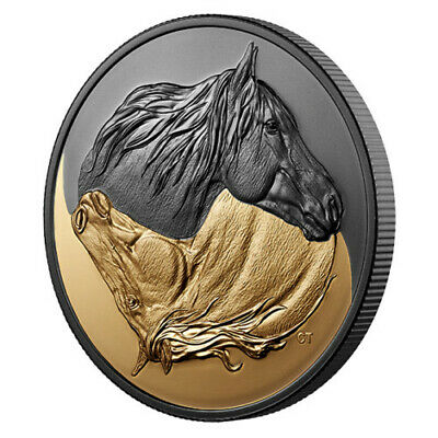 2020 Black and Gold The Canadian Horse Rhodium/Gold-Plated 1 oz Pure Silver Coin