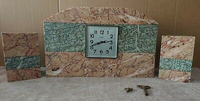Antique Art Deco  Bayard Mantle Clock with Garnitures