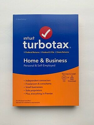 TurboTax Home & Business Federal E-File 2019 Tax Software Disc New/Factory Seal