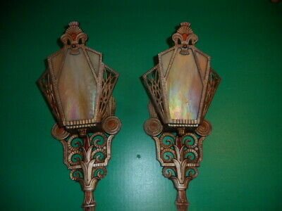art deco pair of wall sconces