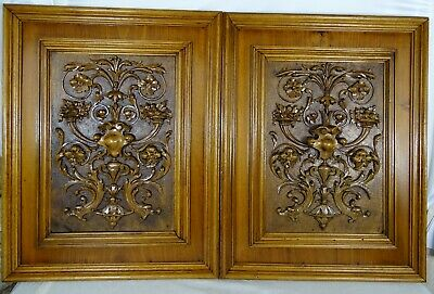 Antique French Pair Hand Carved Walnut Wood Panel Wall Plaque Renaissance Style