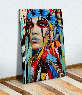 Abstract Indian Woman Canvas Wall Art Painting Print Picture Multi Colour XL Opt