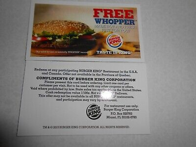 Burger King Free Whopper Cards Lot of 5